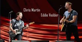 Chris Martin ve Eddie Vedder'ı aynı sahnede buluşturdu